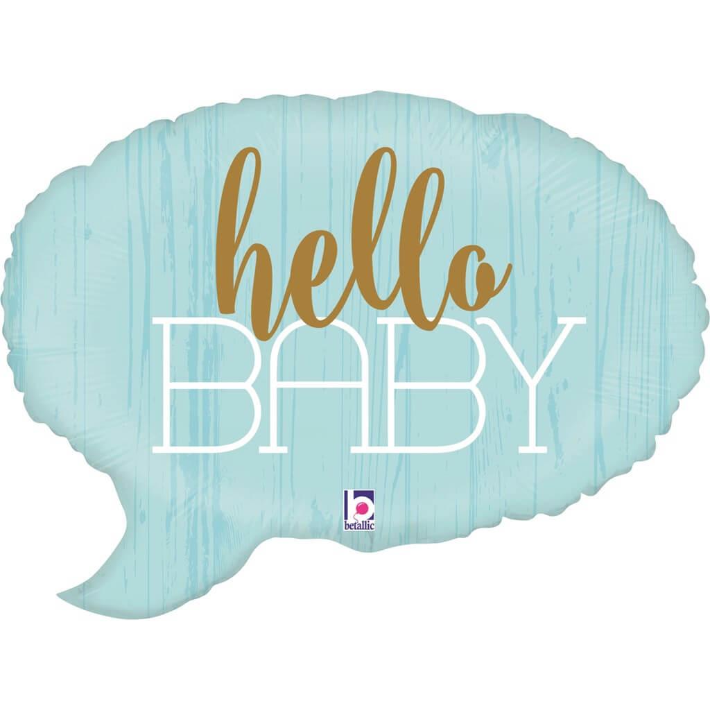 """Ballon bulle bleu """"Hello Baby"""" 61cm"""