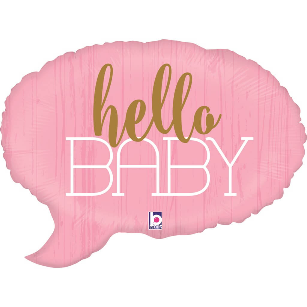 """Ballon bulle rose """"Hello Baby"""" 61cm"""