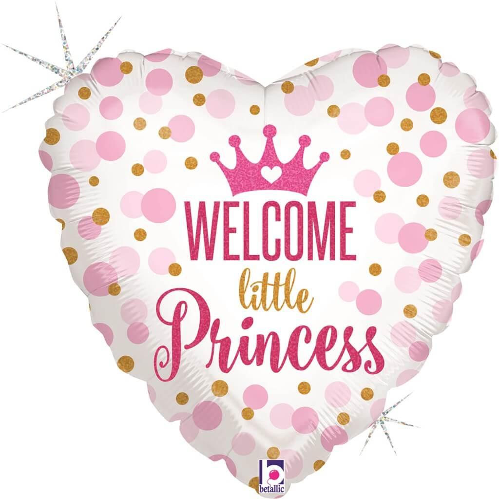 Ballon Coeur Welcome Little Princess 45cm