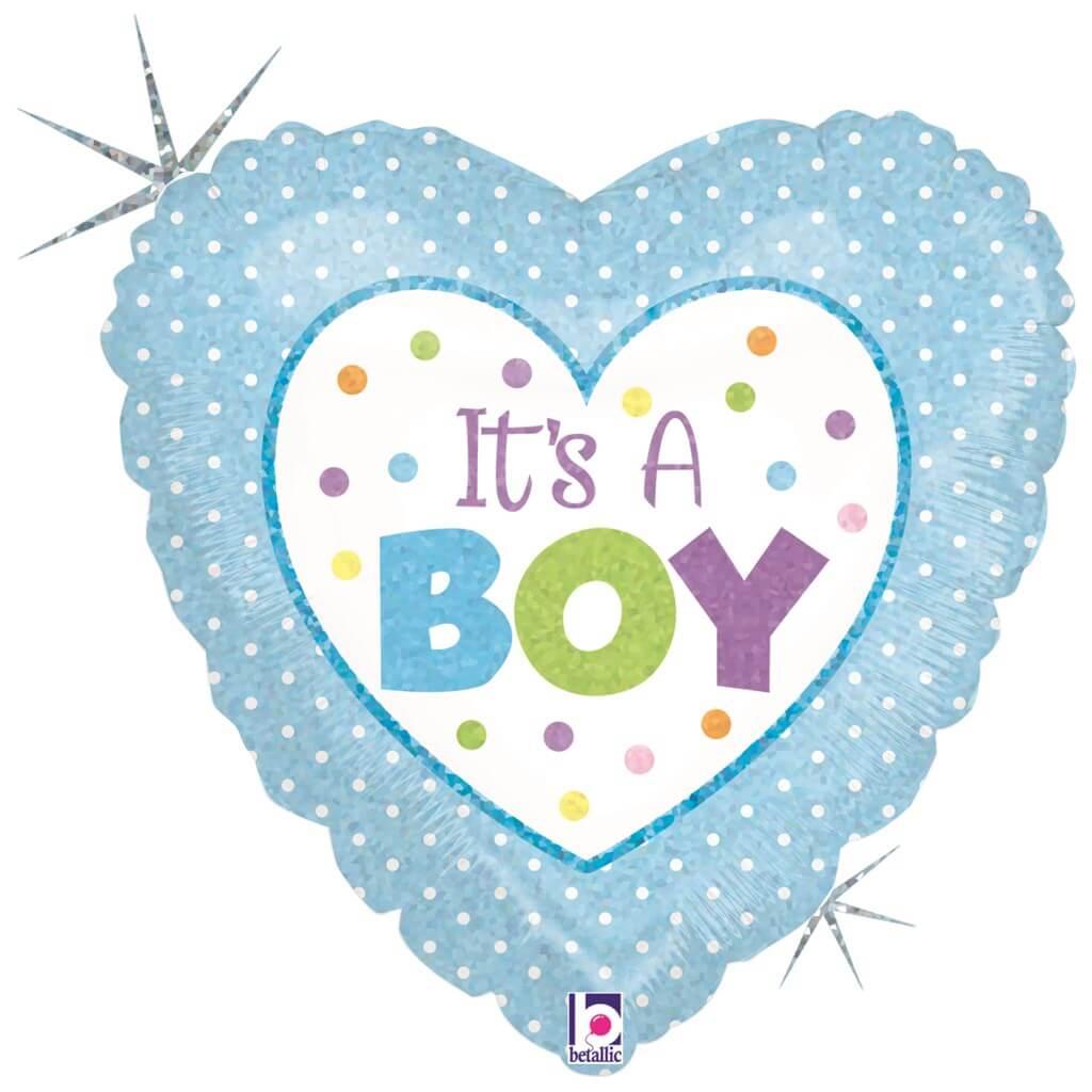 """Ballon coeur bleu """"It's a Boy"""" 45cm"""
