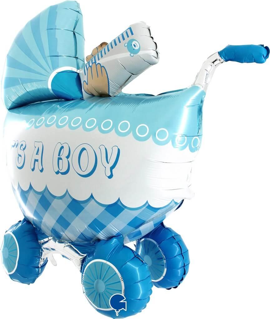 """Ballon 3D Géant poussette """"It's A Boy"""" 107cm"""