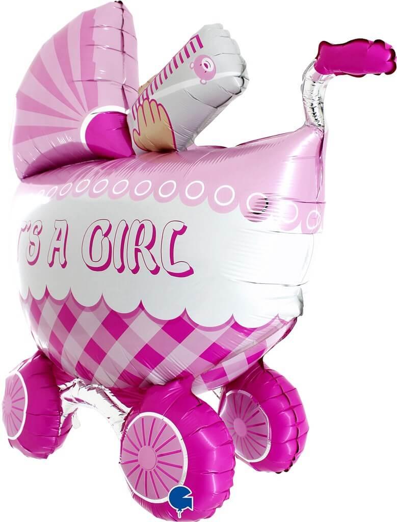 """Ballon 3D Géant poussette """"It's a Girl 107cm"""