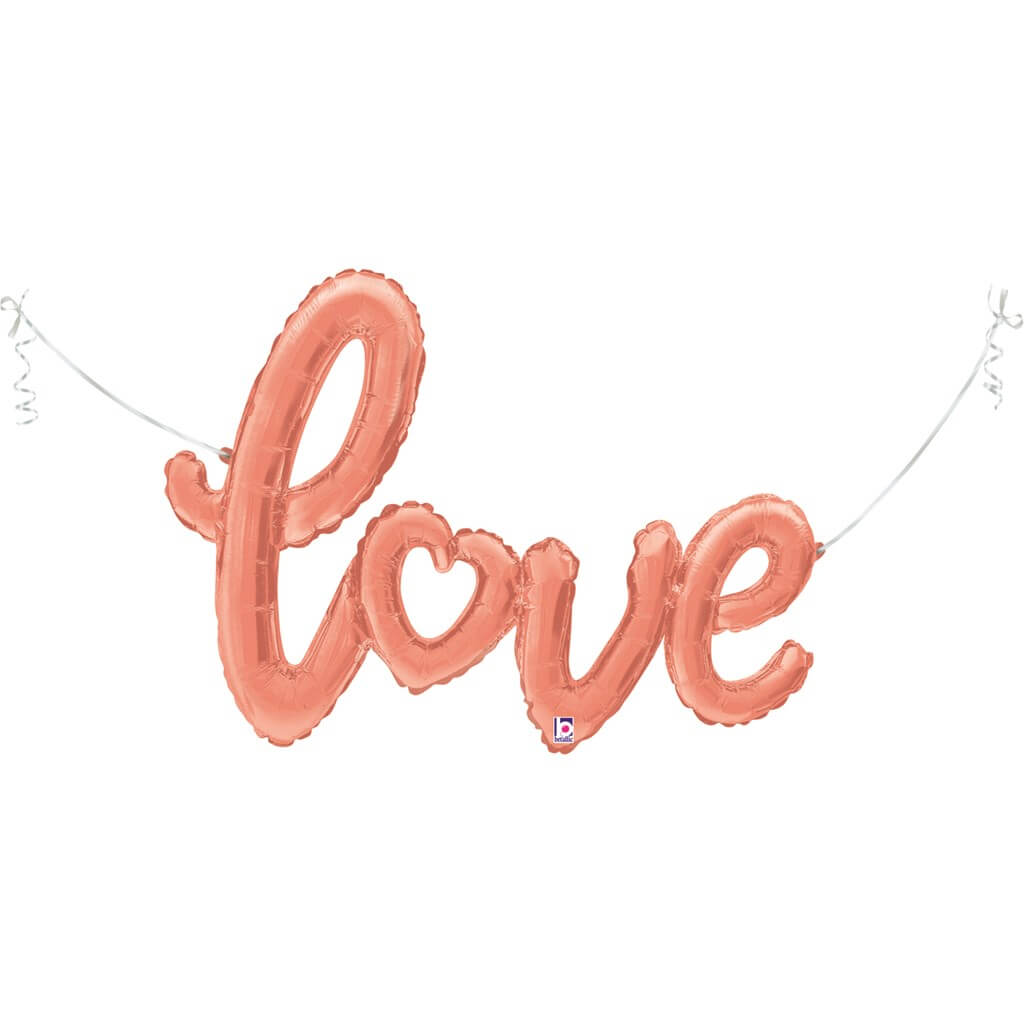 Ballon Métallique Love Script Or rose 119cm