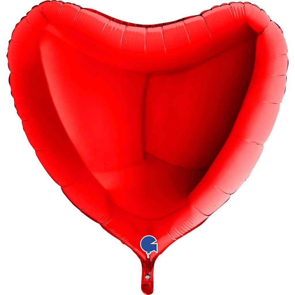 Ballon Géant Coeur Rouge Métallique 91cm