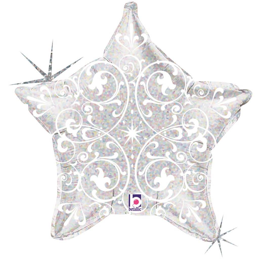 Ballon Hélium Étoile Argent avec motifs 53cm