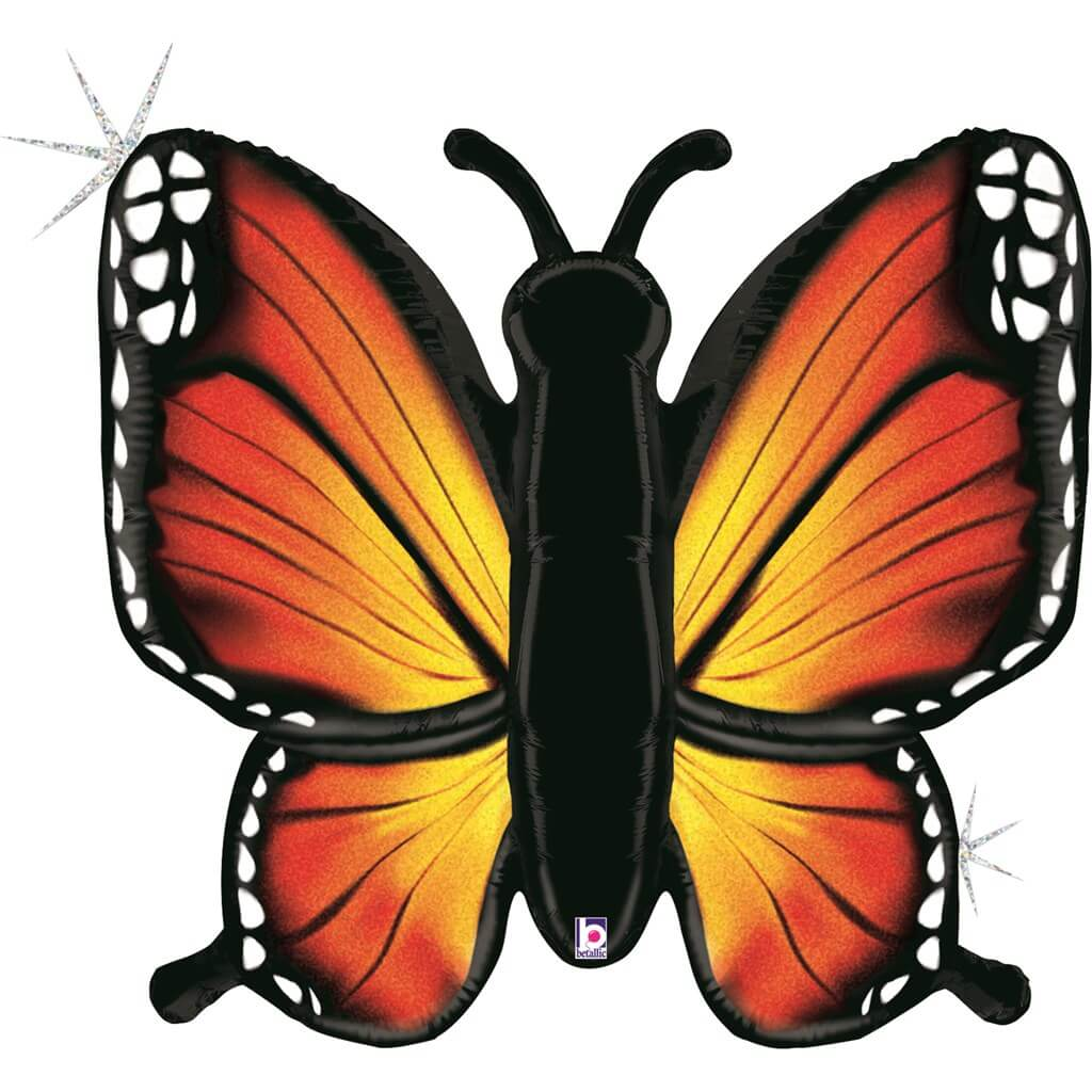 Ballon Papillon Holographique Orange 117cm