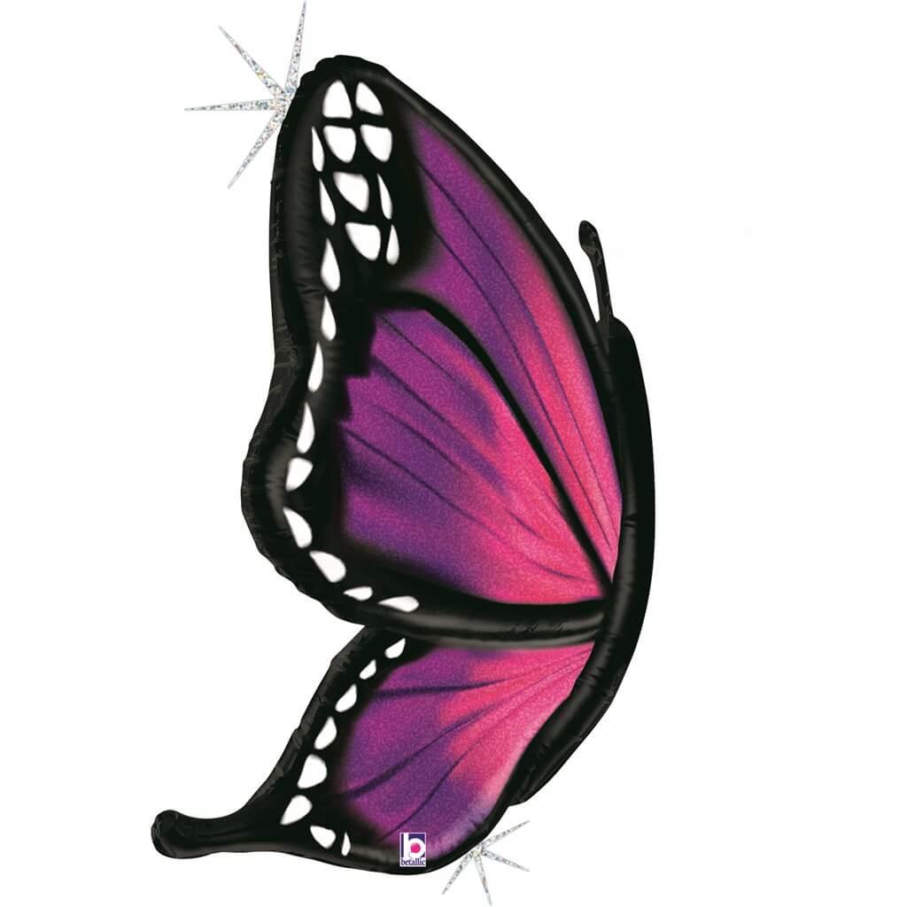 Ballon Papillon Holographique Rose 117cm