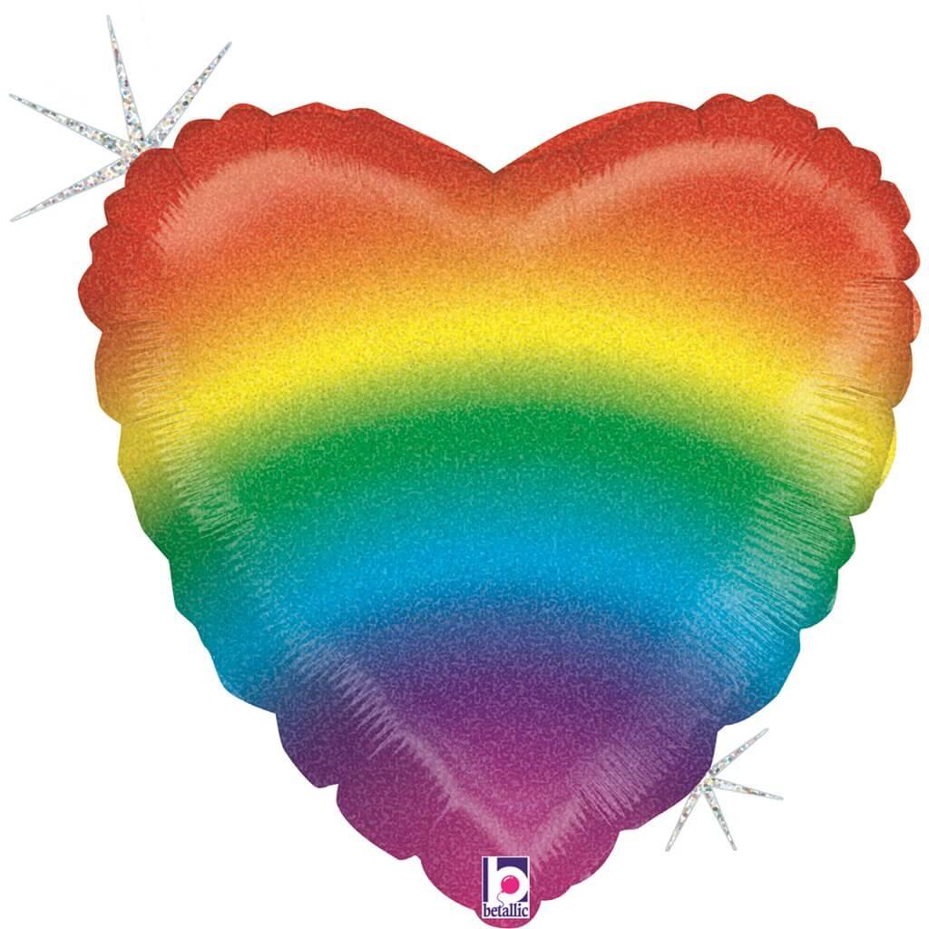 Ballon Hélium Coeur Rainbow 45cm