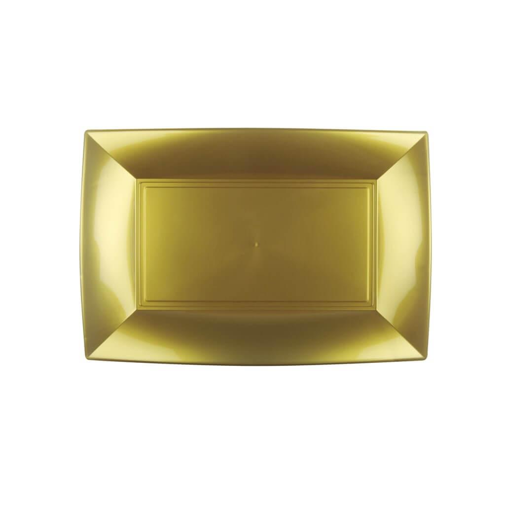 Assiette rectangle Or 29x18cm - Lot de 12