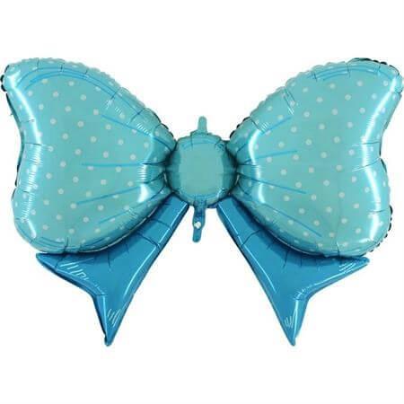 Ballon Noeud papillon à pois Bleu 109cm