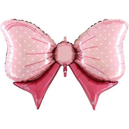 Ballon Noeud papillon à pois Rose 109cm