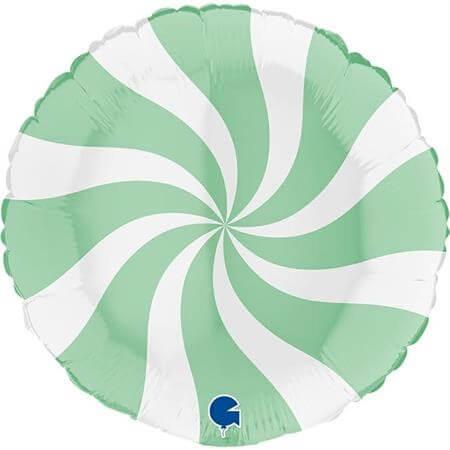 Ballon Aluminium Sucette Blanc et Vert Mat 46cm