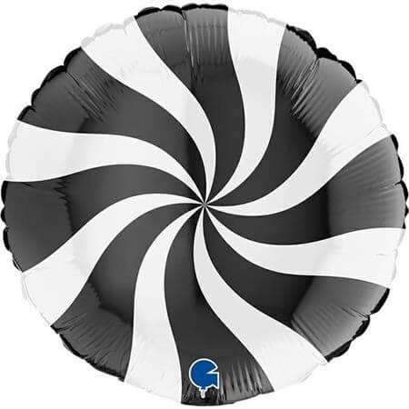 Ballon Aluminium Sucette Blanc et Noir 46cm