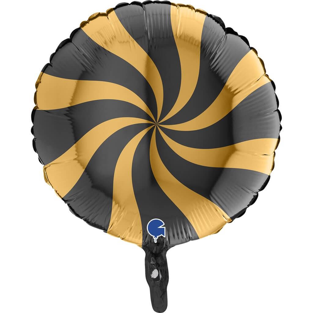Ballon Aluminium Sucette Or et Noir 46cm