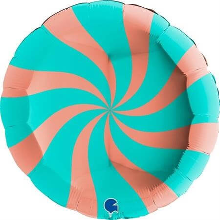 Ballon Aluminium Sucette Or Rose et Turquoise 46cm