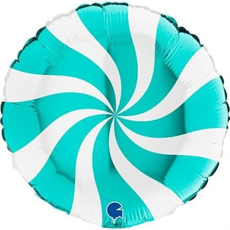 Ballon Aluminium Sucette Blanc et Turquoise 46cm