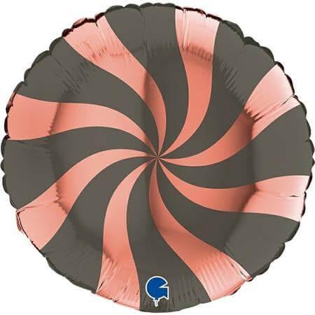 Ballon Aluminium Sucette Or Rose et Noir 46cm