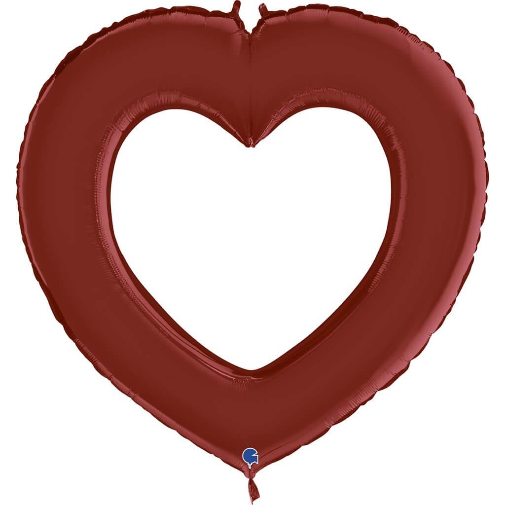 Ballon Métallique Linky Coeur Satin Rouge 104cm