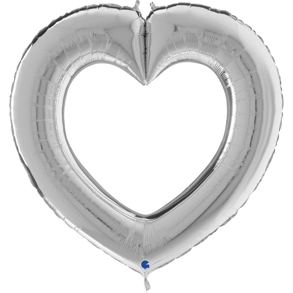 Ballon Métallique Linky Coeur Argent 104cm