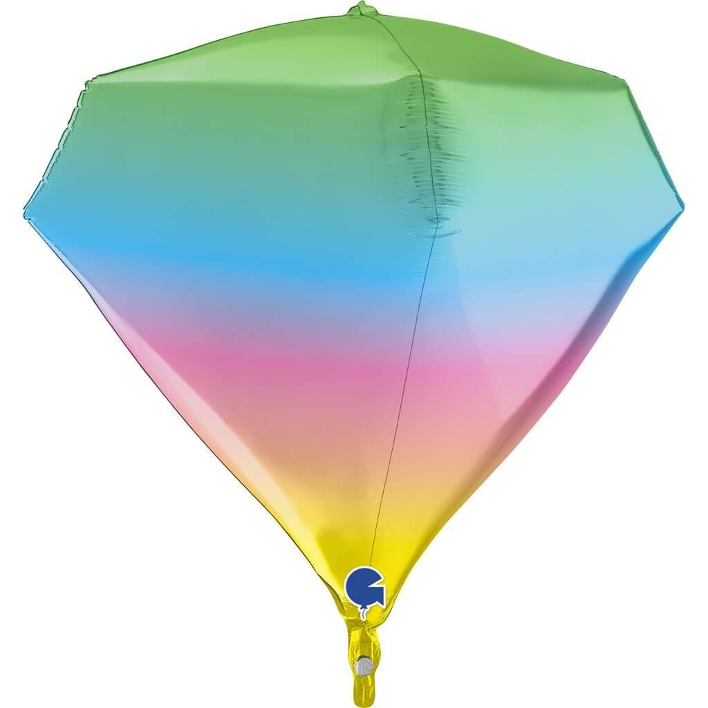 Ballon Hélium Diamant Rainbow 4D 45cm