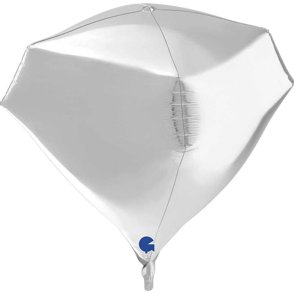 Ballon Hélium Diamant Argent 4D 45cm