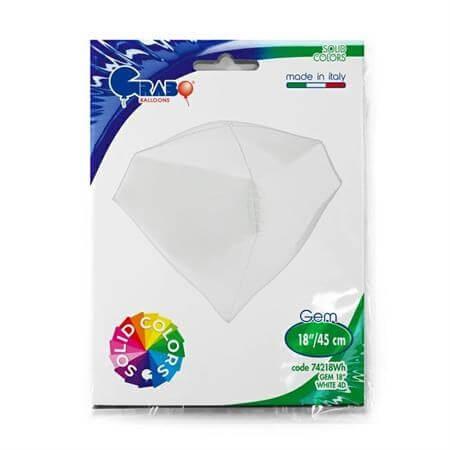 Ballon Hélium Diamant Blanc 4D 45cm