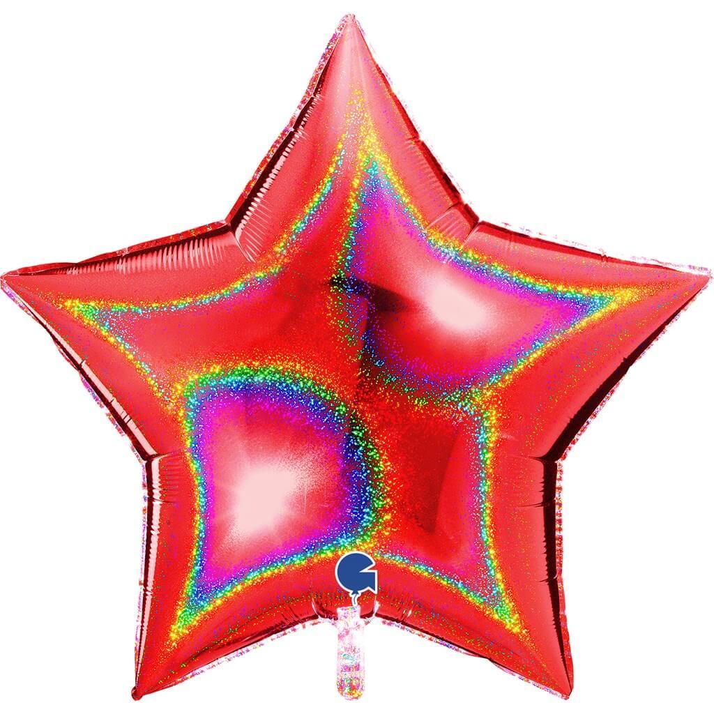 Ballon Étoile Holographique Rouge 92cm