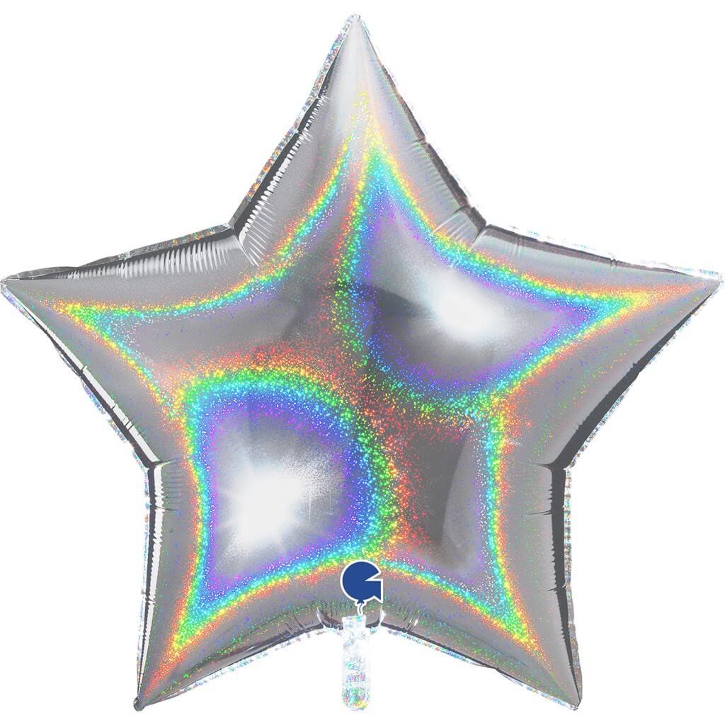 Ballon Étoile Holographique Argent 92cm