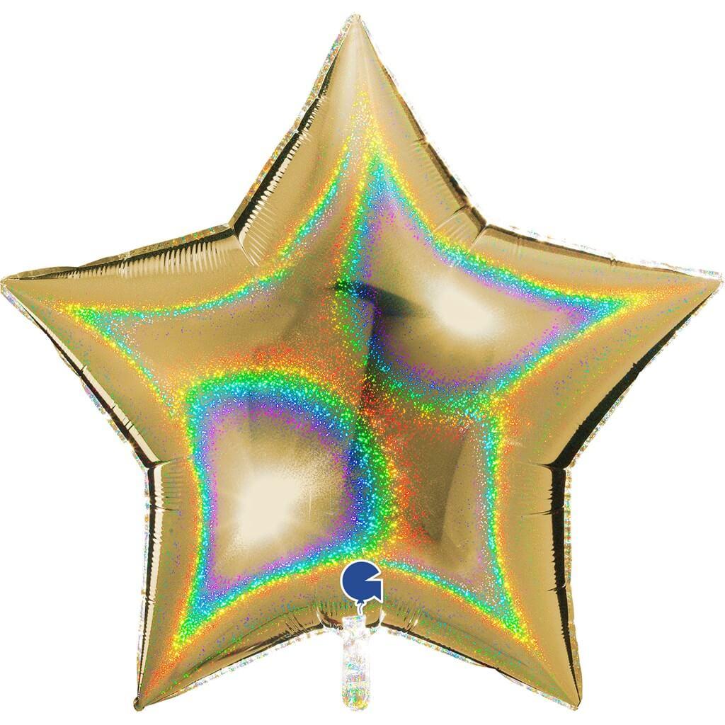Ballon Étoile Holographique Or 92cm