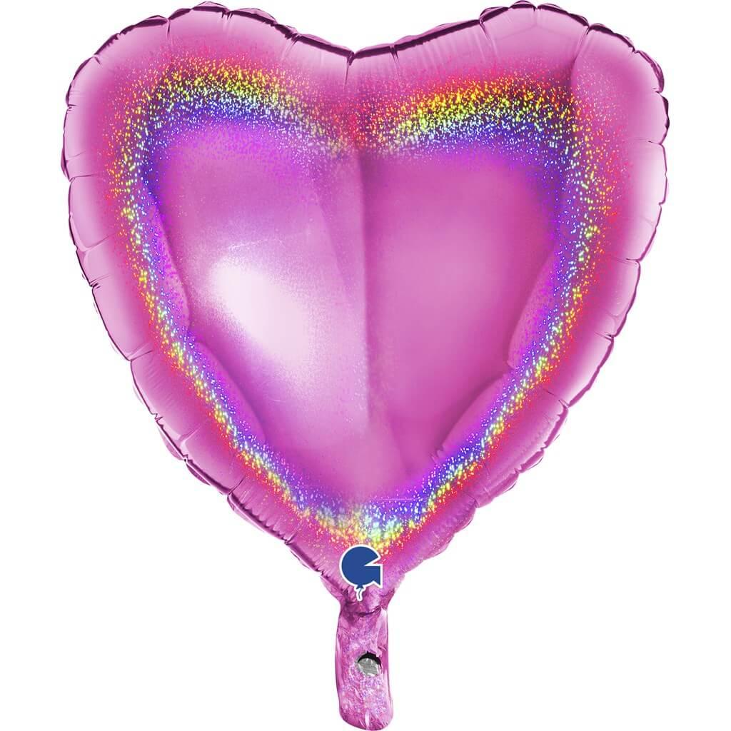 Ballon Coeur Holographique Rose 46cm
