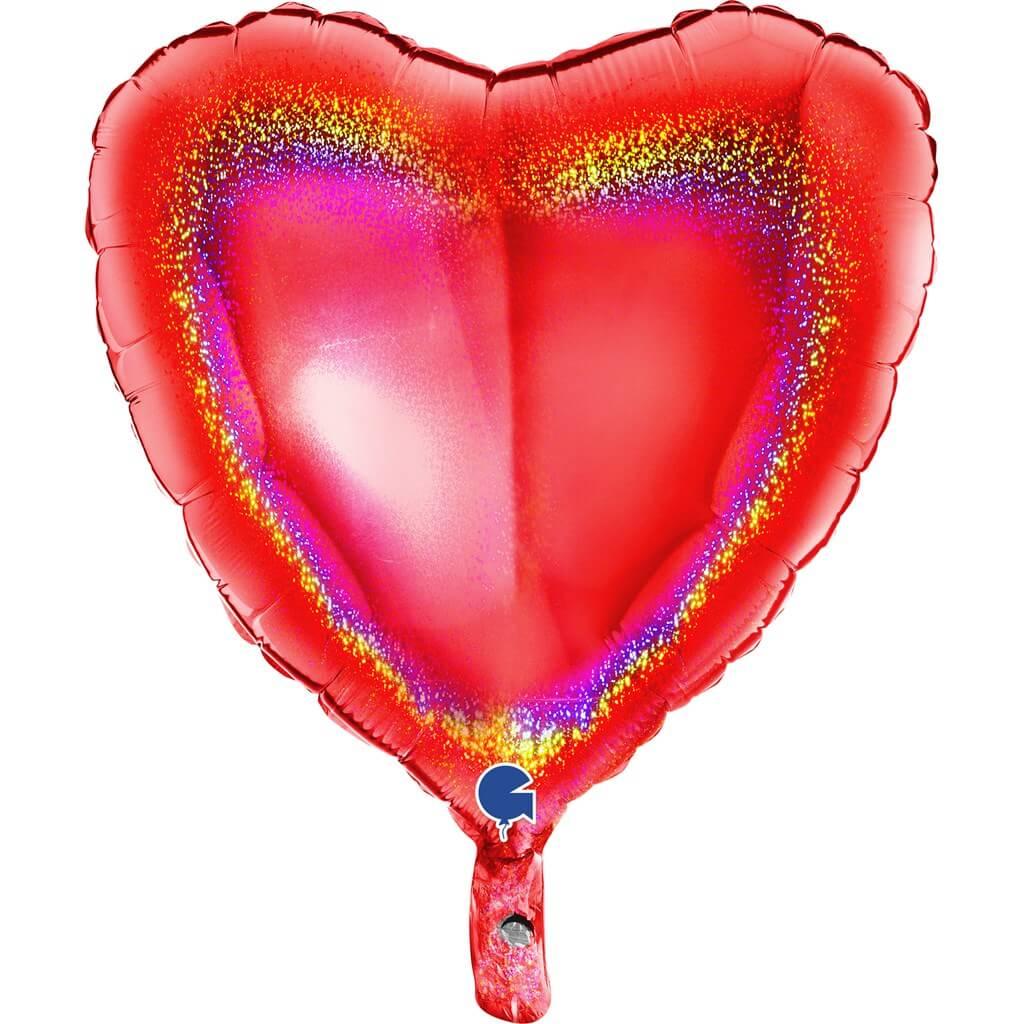 Ballon Coeur Holographique Rouge 46cm