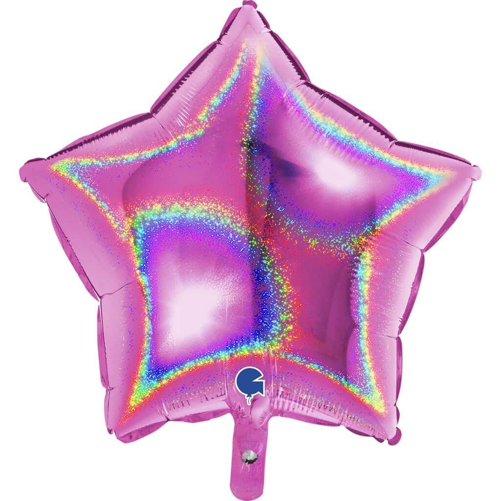Ballon Étoile Holographique Rose 46cm