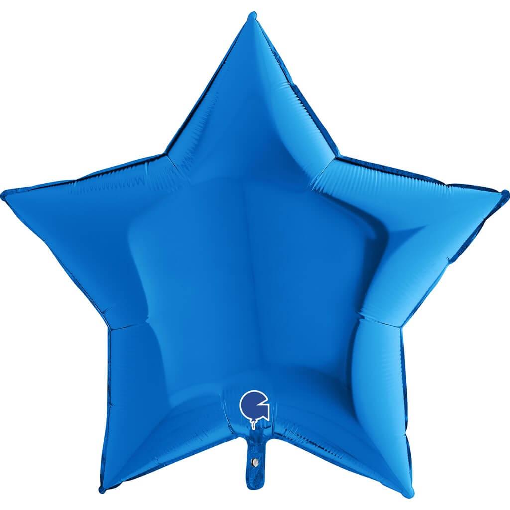 Ballon Étoile Métallique Bleu 91cm