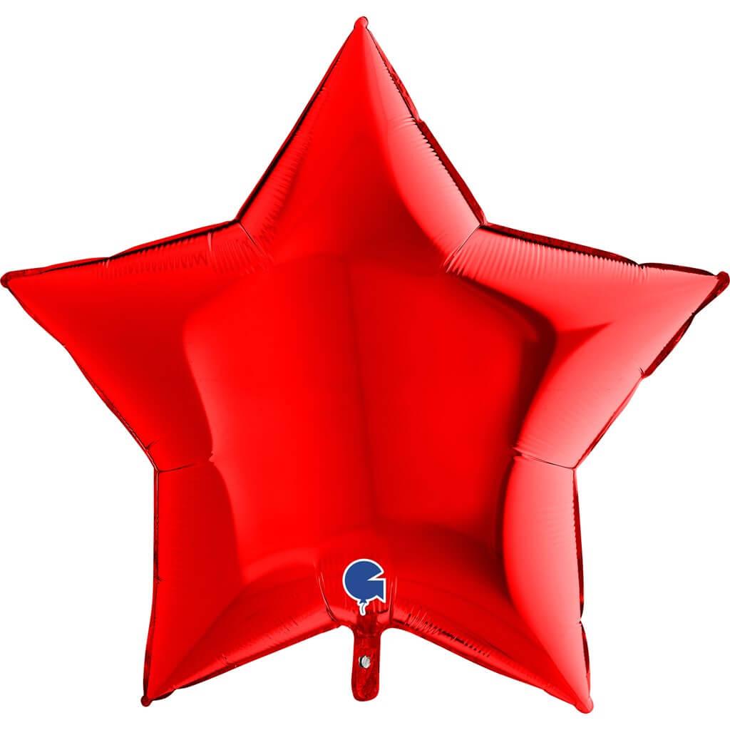 Ballon Étoile Métallique Rouge 91cm