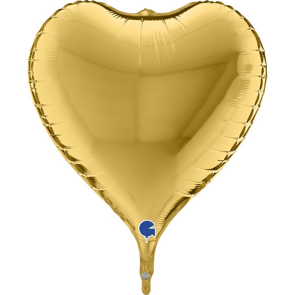 Ballon Coeur Métallique 3D Or 58cm