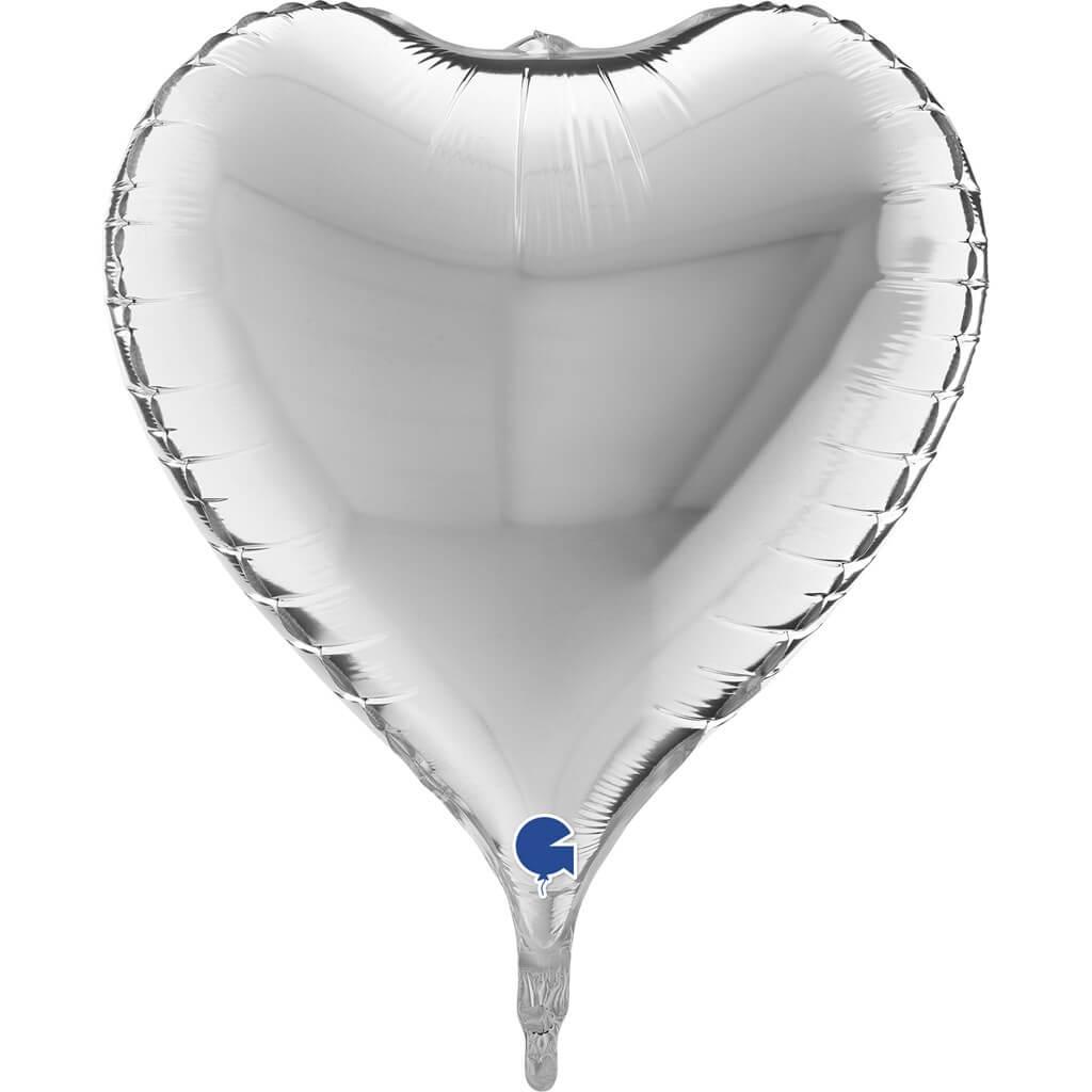 Ballon Coeur Métallique 3D Argent  58cm