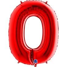 Ballon anniversaire chiffre 0 Rouge 102cm