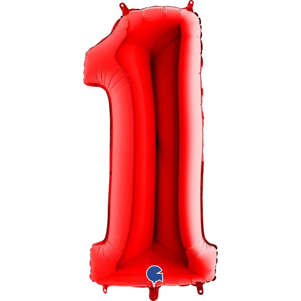 Ballon Anniversaire Chiffre 1 Rouge 102cm