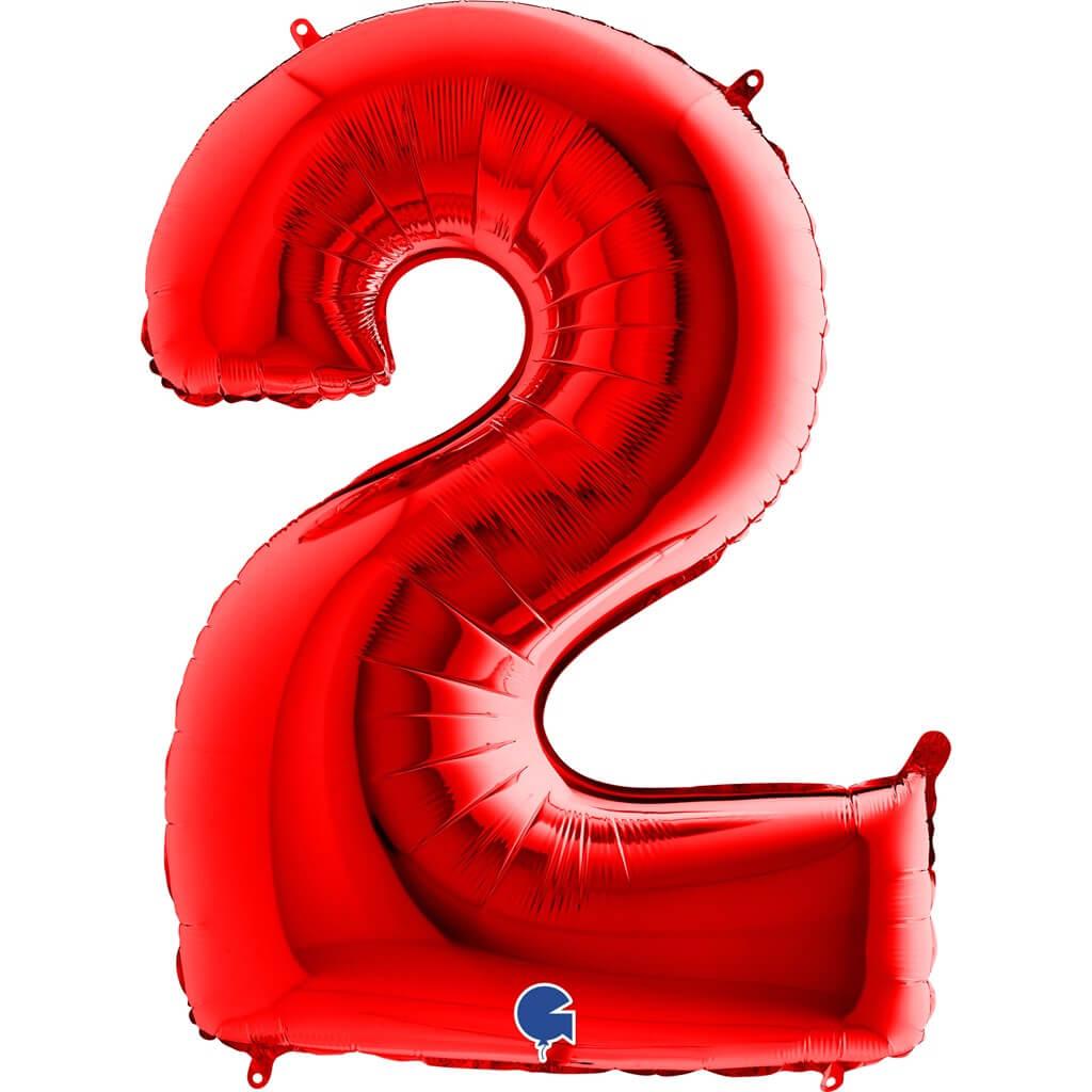 Ballon anniversaire chiffre 2 Rouge 102cm