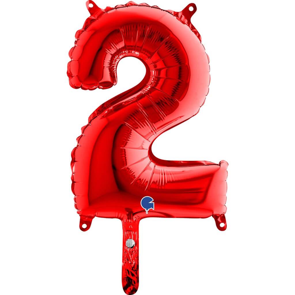 Ballon anniversaire chiffre 2 Rouge 36cm