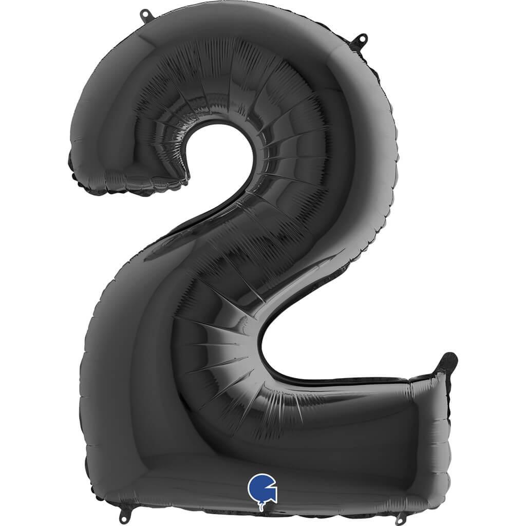 Ballon anniversaire chiffre 2 Noir 102cm