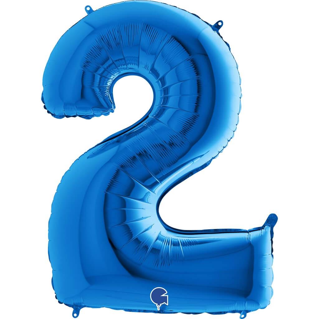 Ballon anniversaire chiffre 2 Bleu 102cm
