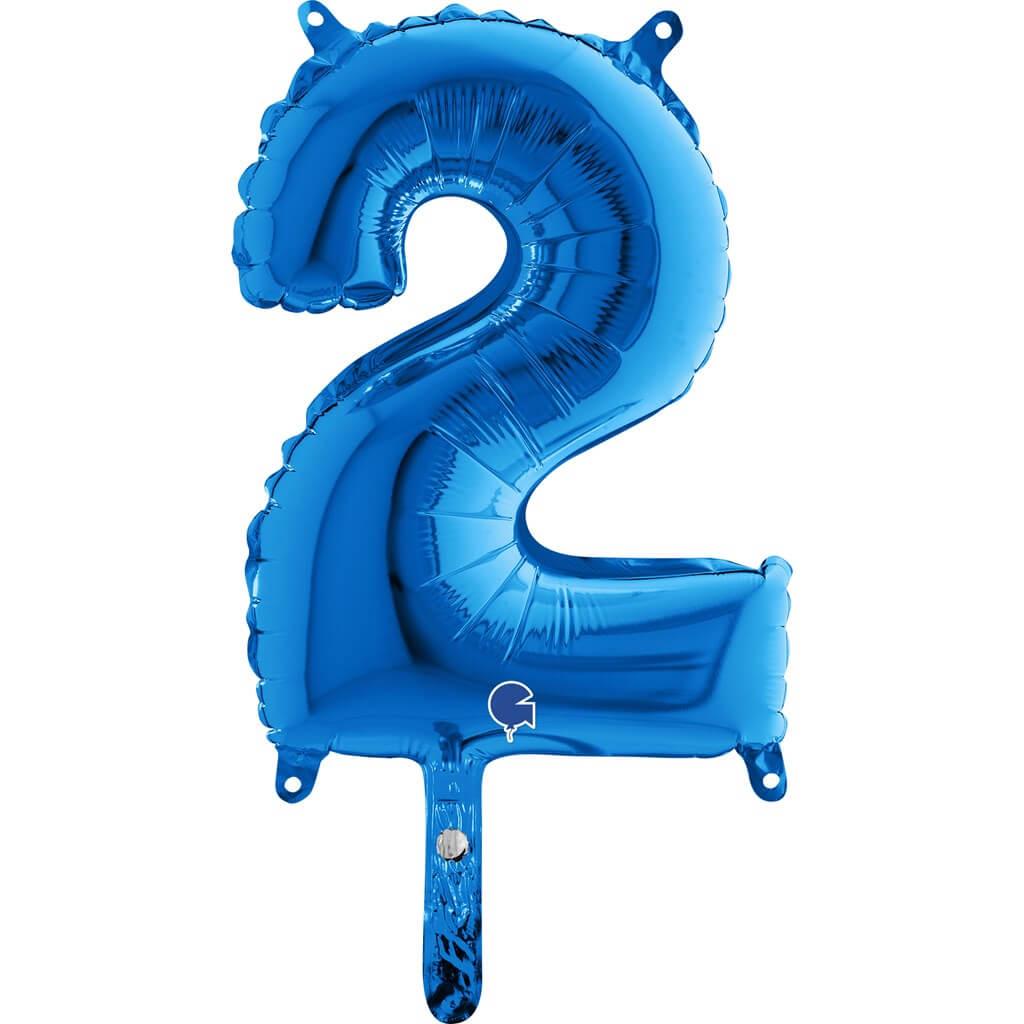 Ballon anniversaire chiffre 2 Bleu 36cm