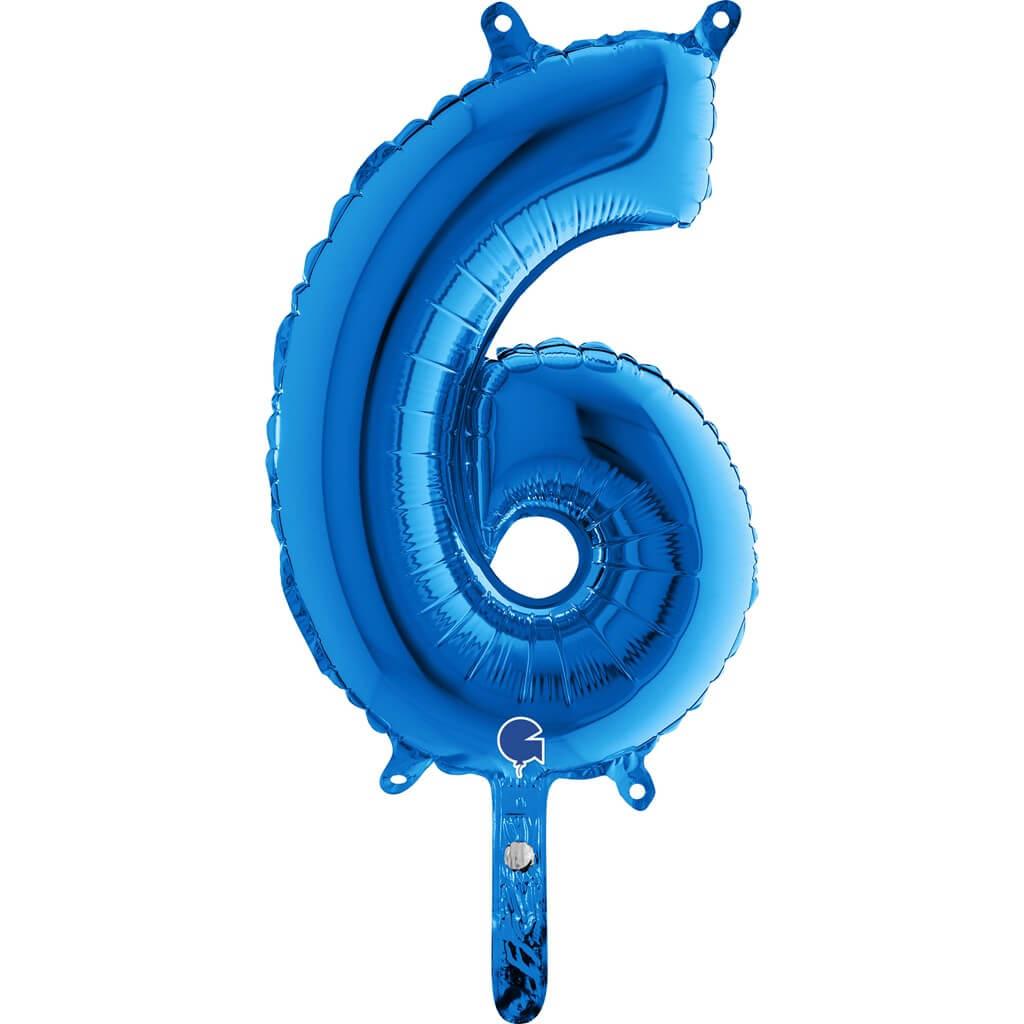 Ballon Anniversaire Chiffre 6 Bleu 36cm