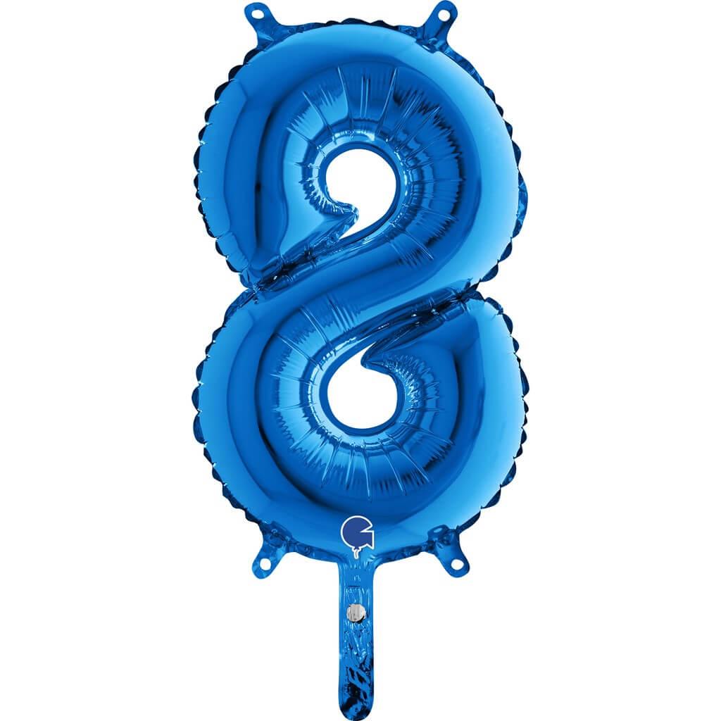 Ballon anniversaire chiffre 8 Bleu 36cm