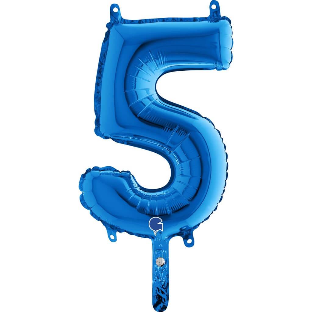 Ballon anniversaire chiffre 5 Bleu 36cm