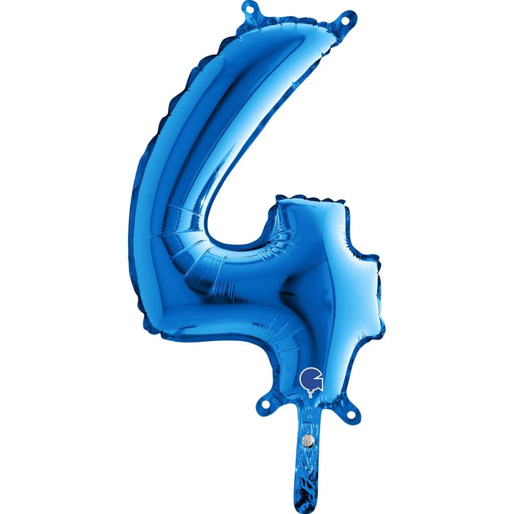 Ballon anniversaire chiffre 4 Bleu 36cm