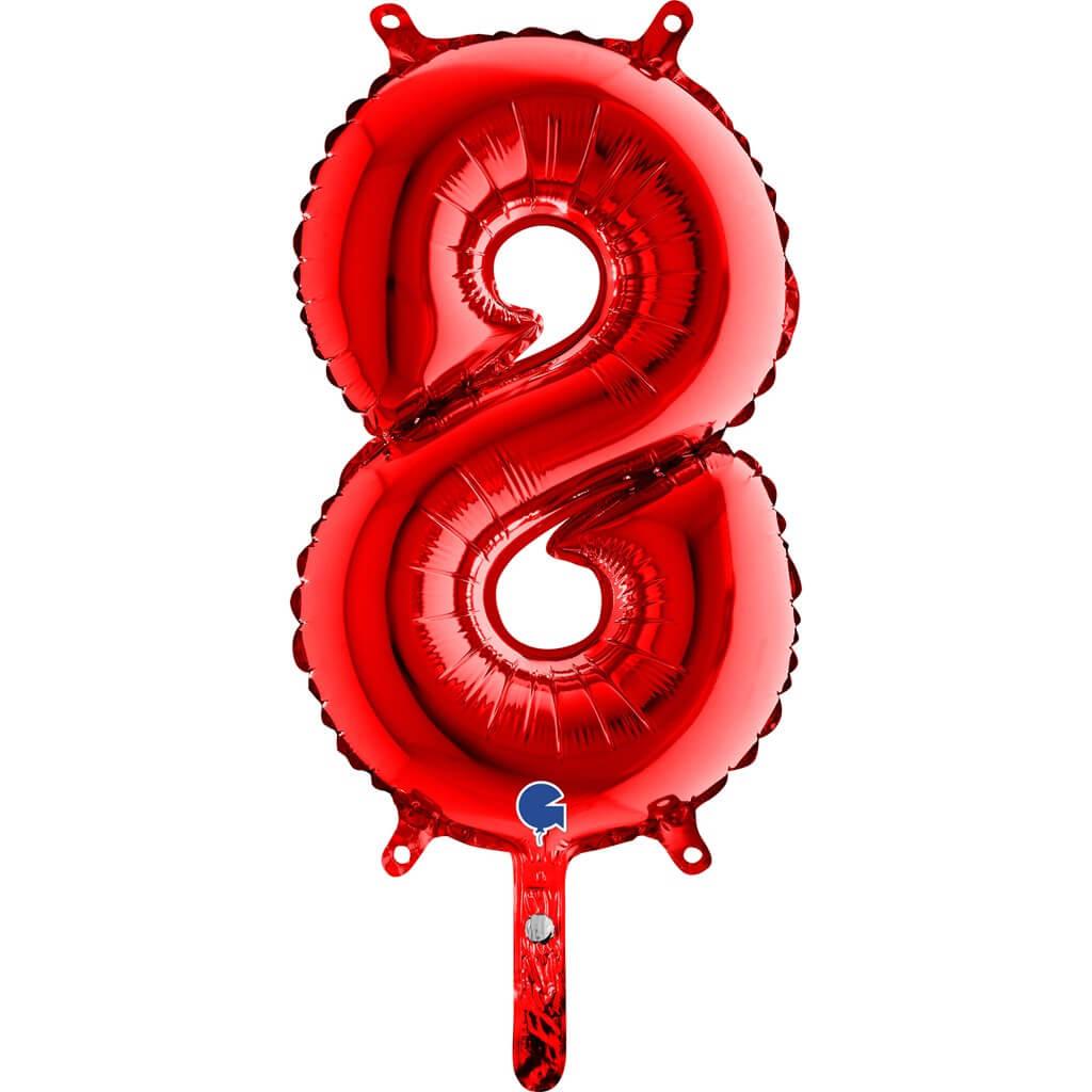Ballon anniversaire chiffre 8 Rouge 36cm