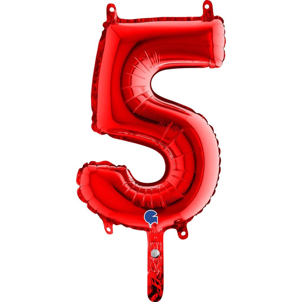 Ballon anniversaire chiffre 5 Rouge 36cm