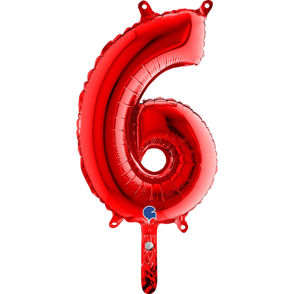 Ballon anniversaire chiffre 6 Rouge 36cm